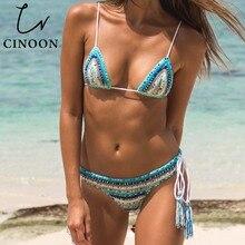 ФОТО cinoon brand low waist swimsuit 2018 sexy bikinis women swimwear ruffle vintage bandeau striped bottom news bikini bathing suits