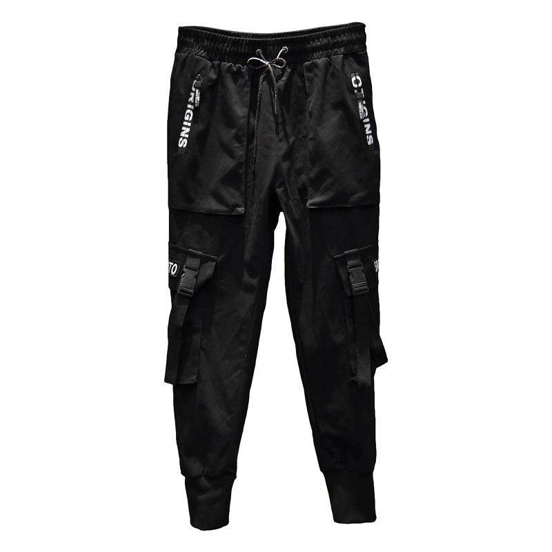 2020 New Fashion Men Harem Pants Hip Hop Buckles Strap Joggers Streetwear Casual Ripped Trousers Cargo Pants ABZ367