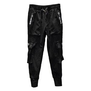 Image 1 - 2020 nuovi Uomini di Modo Pantaloni Stile Harem Hip Hop Fibbie Cinturino Jogging Streetwear Casual Strappato I Pantaloni Cargo Pantaloni ABZ367