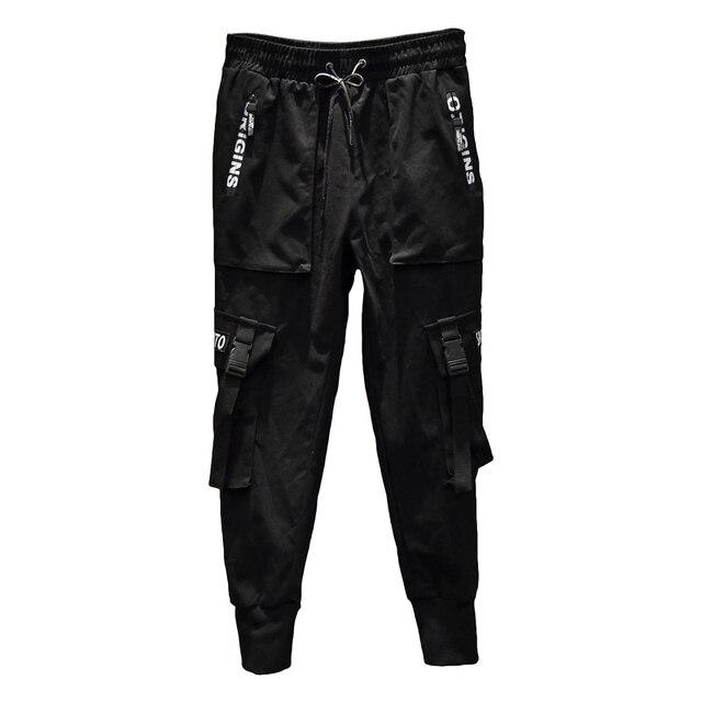 2020 nuovi Uomini di Modo Pantaloni Stile Harem Hip Hop Fibbie Cinturino Jogging Streetwear Casual Strappato I Pantaloni Cargo Pantaloni ABZ367