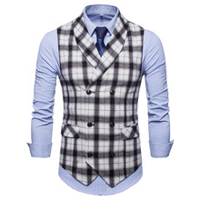цена 2019 autumn and winter new men's casual plaid green fruit collar vest  men's self-cultivation double-breasted plaid suit vest онлайн в 2017 году