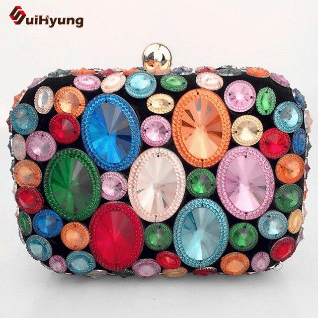 2016 New Women Hand Stitching Diamond Evening Bag Exquisite Color Crystal Clutch Dinner Party Handbag Ladies Shoulder Bag