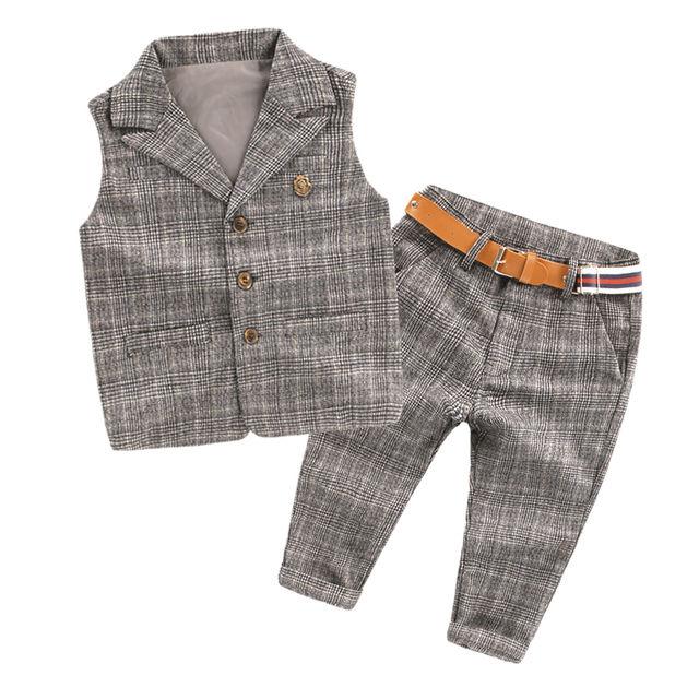 2016 Children Baby Boy Blazer Clothes Set Plaid Vest Pants Suits For Wedding Kids Toddler Tuxedo Suit Boys Vest Formal Clothing