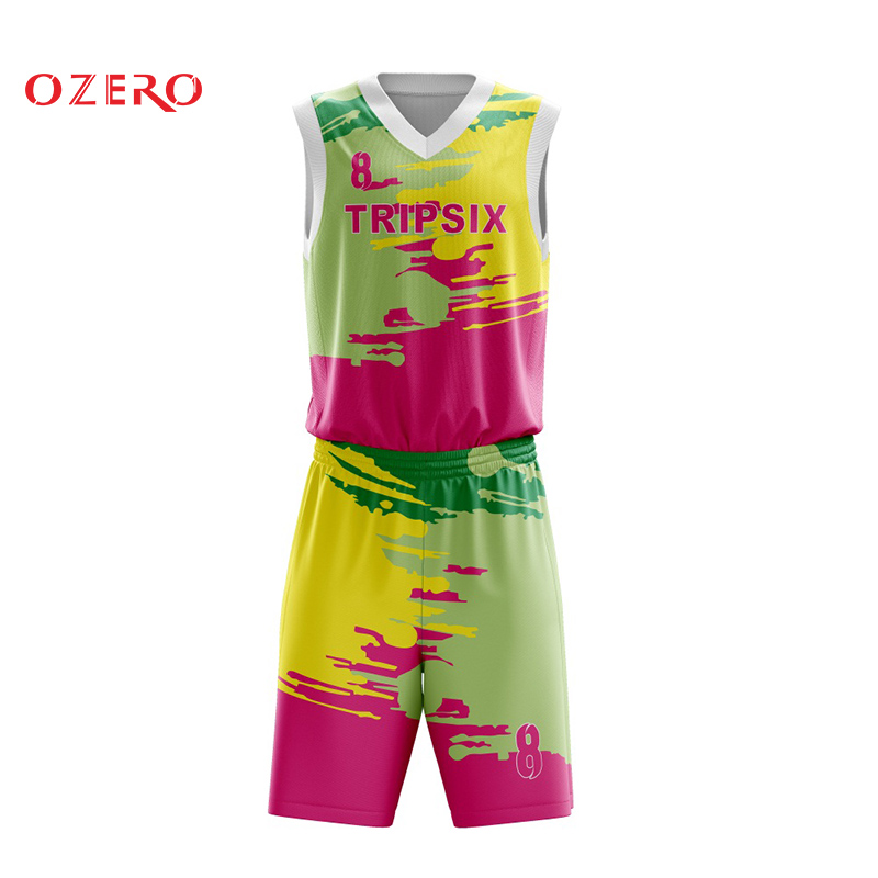 sublimation custom colorful high quality basketball kits oem designs