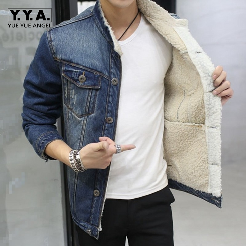 Men Fashion Casual Jacket Male Long Sleeve Single Breasted Short Coats Korean Style 2018 Jean Denim Outwear Fur Lining Warm Coat