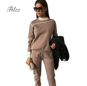 Image 1 - Woman Tracksuits 2018 Autumn Fashion Turtleneck Sweater + Slim Pants Knitted Suits Ladies Stripe Two Piece Set Twinset 2 Pcs Set