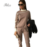 Woman Tracksuits 2018 Autumn Fashion Turtleneck Sweater + Slim Pants Knitted Suits Ladies Stripe Two Piece Set Twinset 2 Pcs Set