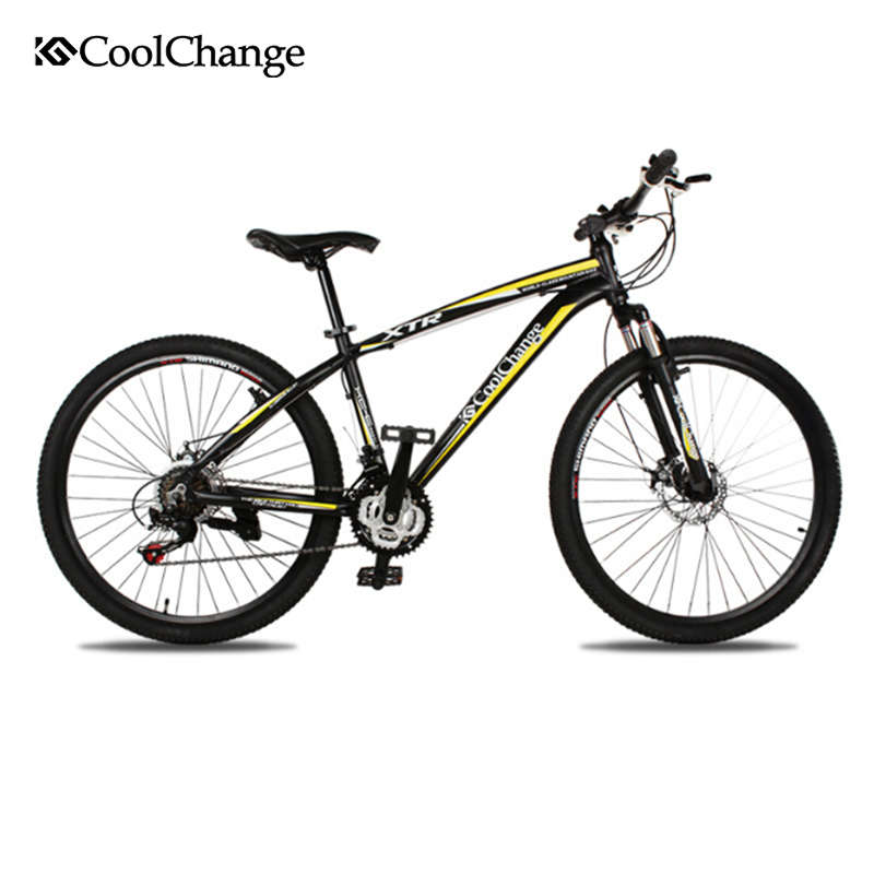 CoolChange Cross-Country Double Disc Brake Bike Road Bicycles Aluminium Alloy 21 Speed ZXC26 Inch Mountain Bike Bicycle 26 inch 7 21 27speed cross country mountain bike aluminum frame snow beach 4 0 oversized bicycle tire dirt bikes for men