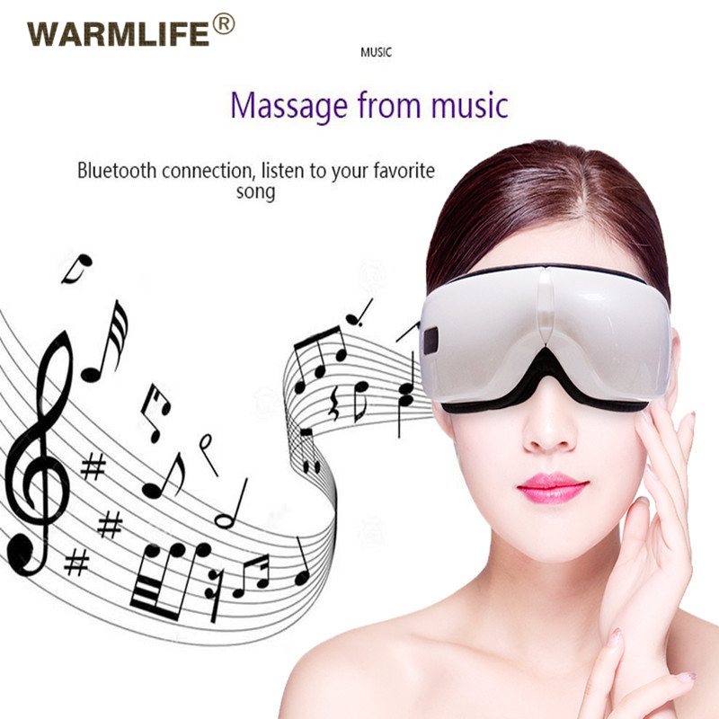 Foldable Electric Eye Massager Heat Compression Wireless Bluetooth Music Eyes Care Mask