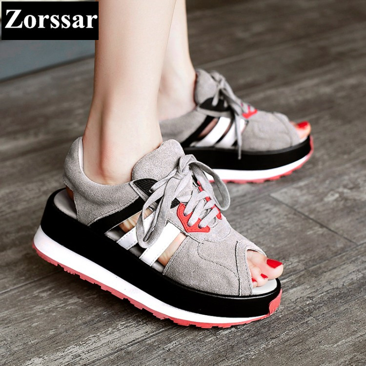ФОТО Summer shoes Womens Casual Platform open toe Sport sandals Breathable Shoes 2017 Fashion Genuine leather Ladies Wedges Sandals