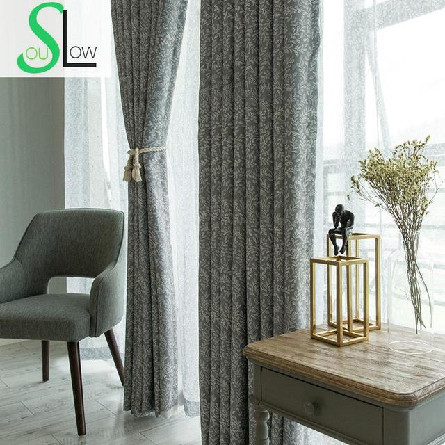 US $10.46 35% OFF|Slow Soul Grey Green Brilliant Vitality Curtain Modern  Pastoral European Black Silk Printed Living Room Curtains For Ready Made-in  ...