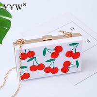 PVC Hard Surface Clutch Bag Gothic Chain Sling Shoulder Bags For Women 2019 Cherry Pattern Box Clutches Evening Party Bag Purse