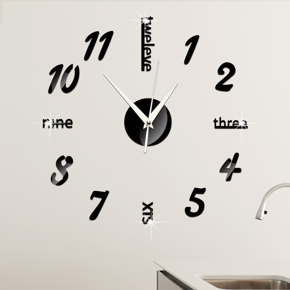 Mix Letters And Numbers Digital Wall Clock Mirror