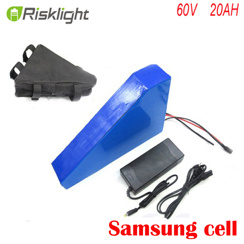Triangle Style 60V 1000W 2000W 1400W Elektrická Bike Baterie 60V 20ah Lithium Ion Baterie s nabíječkou + taška