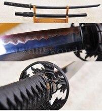 Высококачественная Черная изогнутая сталь SANMAI обкладка глиной японский меч катана