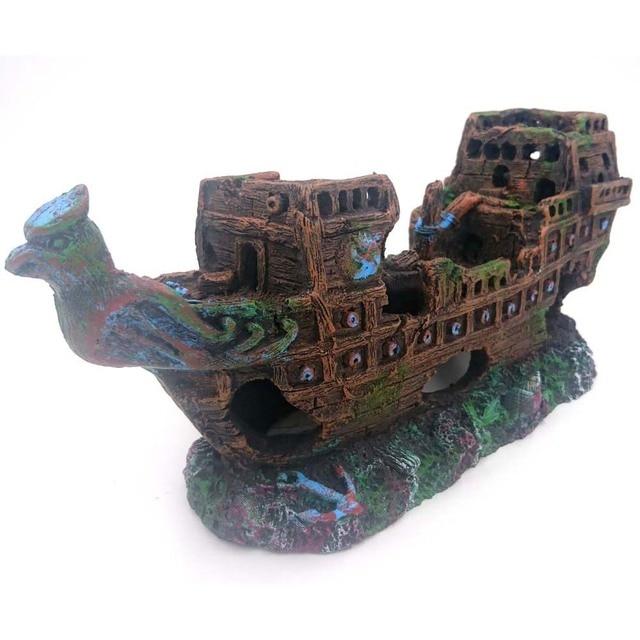 Aquarium Ornament Big Size Pirate Sunk Ship Shipwreck Boat Fish Tank