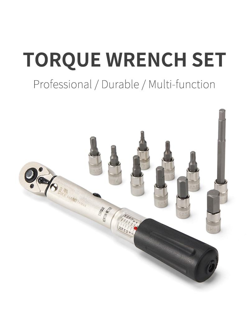 Mountain Bike Torque Wrench Allen Key Tool Socket Set Bicycle Repair Kit Durable