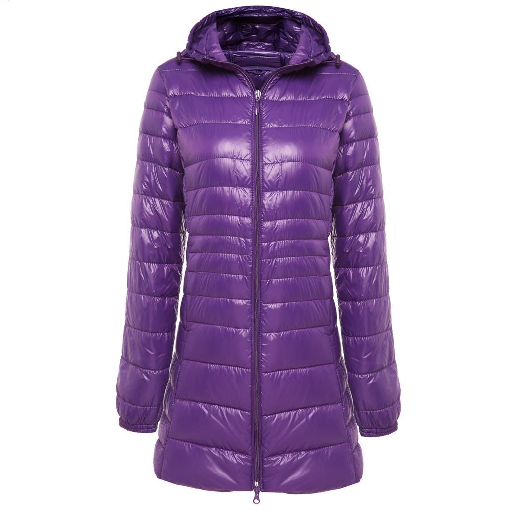 2019 New Brand Ladies Long Winter Warm   Coat   Women Ultra Light 90% White Duck   Down   Jacket Women's Hooded Parka Female Jackets