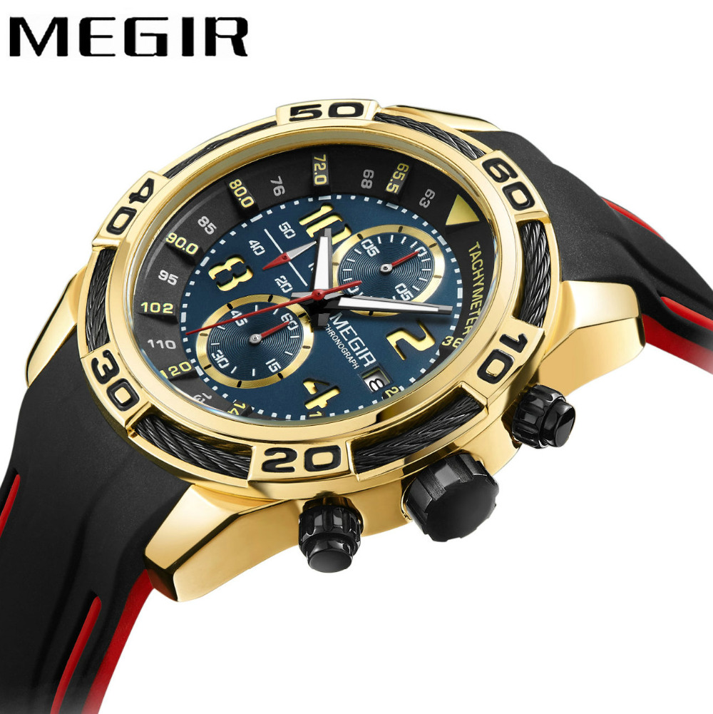 MEGIR Army Sport Watch Men Quartz Watches Leather Strap Date Display Creative Watches Waterproof Wristwatches relogio masculino 2017 new top fashion time limited relogio masculino mans watches sale sport watch blacl waterproof case quartz man wristwatches