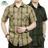 AFS JEEP fashion casual men's Plaid shirts breathable soft brand men summer thin short sleeve shirt plus size M 5XL 5002