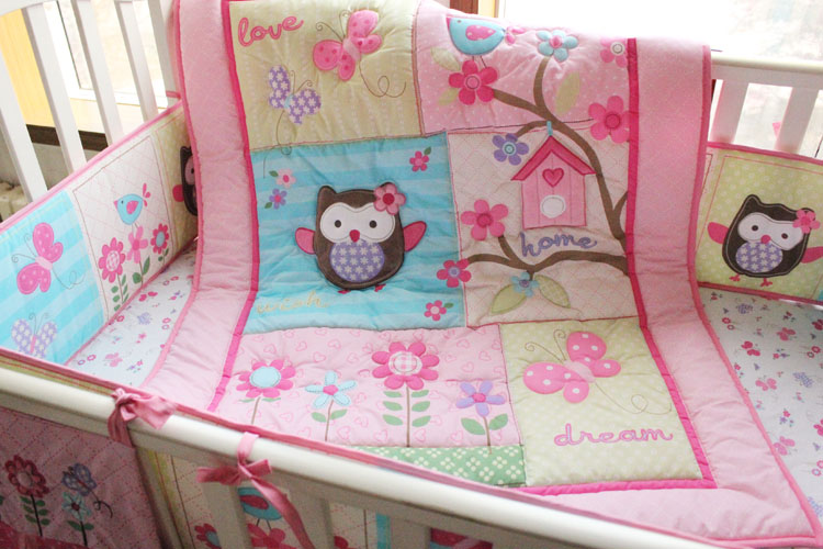 Promotion! 7PCS baby crib bedding sets cotton embroidery character baby bedding sets,include(bumper+duvet+bed cover+bed skirt)