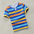 Children's clothing male child short-sleeve T-shirt child 100% cotton o-neck solid color female child baby short-sleeve stripe