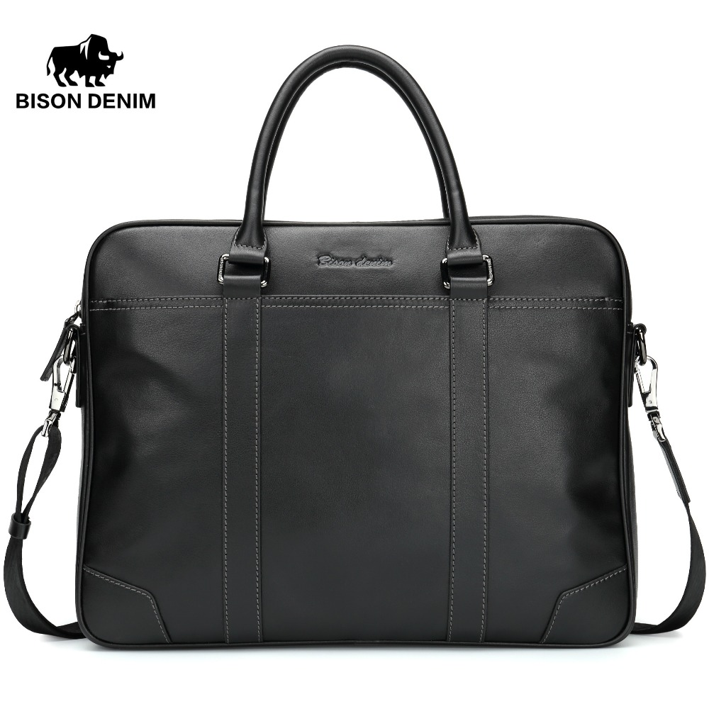 BISON DENIM fashion luxury brand genuine leather men handbag shoulder bags business men briefcase laptop bag 100% genuine leather men bag brand designed men laptop briefcase business bag cow leather men handbag shoulder bag messenger bag