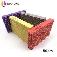 50 adet Kalın 100/180 Zımpara Dosyaları 4 Renk Tırnak Tampon Zımpara Taşlama Kum Çift Taraflı Tırnak Dosyalar Bükülebilir Manikür Araçları