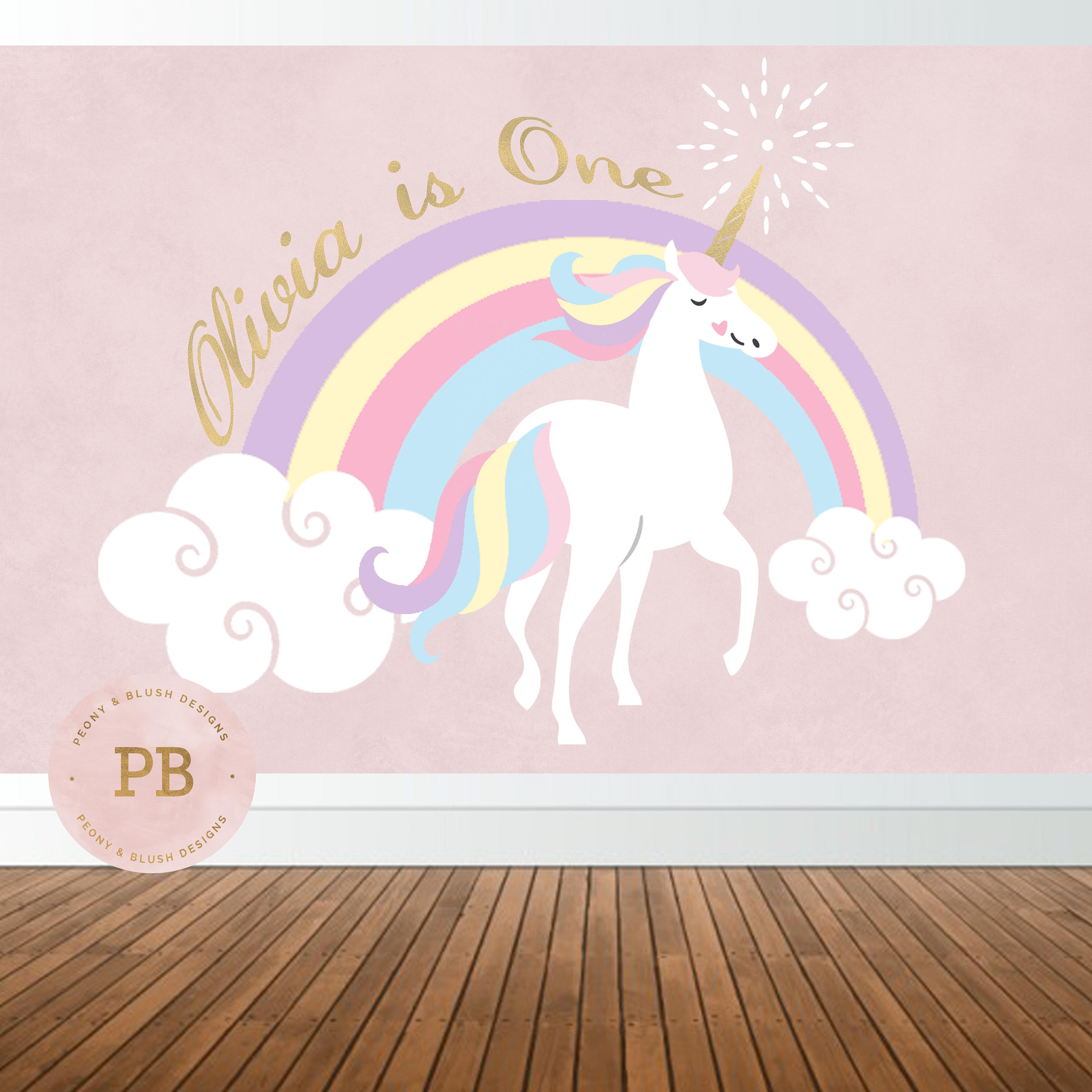 custom unicorn birthday rainbow clouds backdrops High quality Computer print party backgrounds