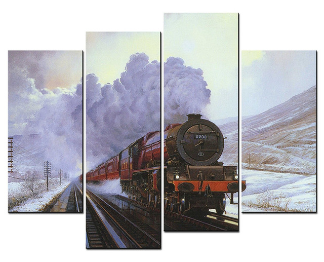 4 Panels Unframed Canvas Photo Prints The Train In Motion Wall Art ...