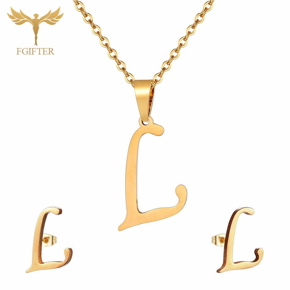 26 Letters Stainless Steel Jewelry Sets for Women Men Gold Choker Necklace Stud Earrings Family Friendship Festival Gifts in Jewelry Sets from Jewelry Accessories