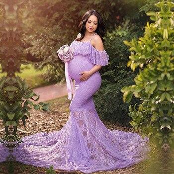 SMDPPWDBB maternidad fotografía props embarazo encaje maternidad fuera del hombro sesión de fotos vestido de mujeres embarazadas