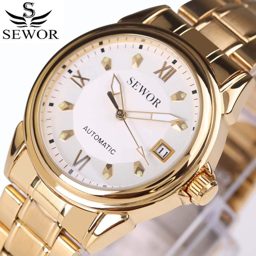 Watches Men Automatic Mechanical Watch Top Brand Full Steel Luxury Business Men's Watches Date Clock relojes hombre 2017 New new business watches men top quality automatic men watch factory shop free shipping wrg8053m4t2