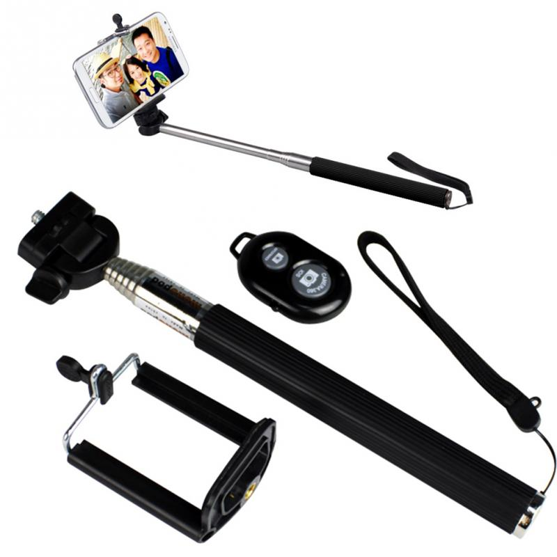 Metal Handheld Extendable Self Selfie Stick Handheld Monopod +Clip Holder+Bluetooth Shutter Remote Controller for Smart Phone