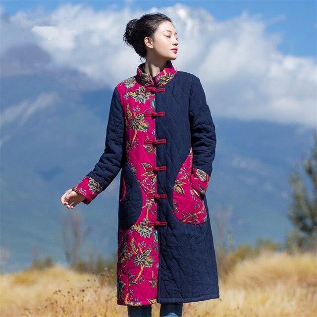 Cheap BOHOCHIC Original Ethnic Print Vintage Spliced Stand Collar Full Sleeve Women Coat Female Warm Parka YJ0034D Boho Chic