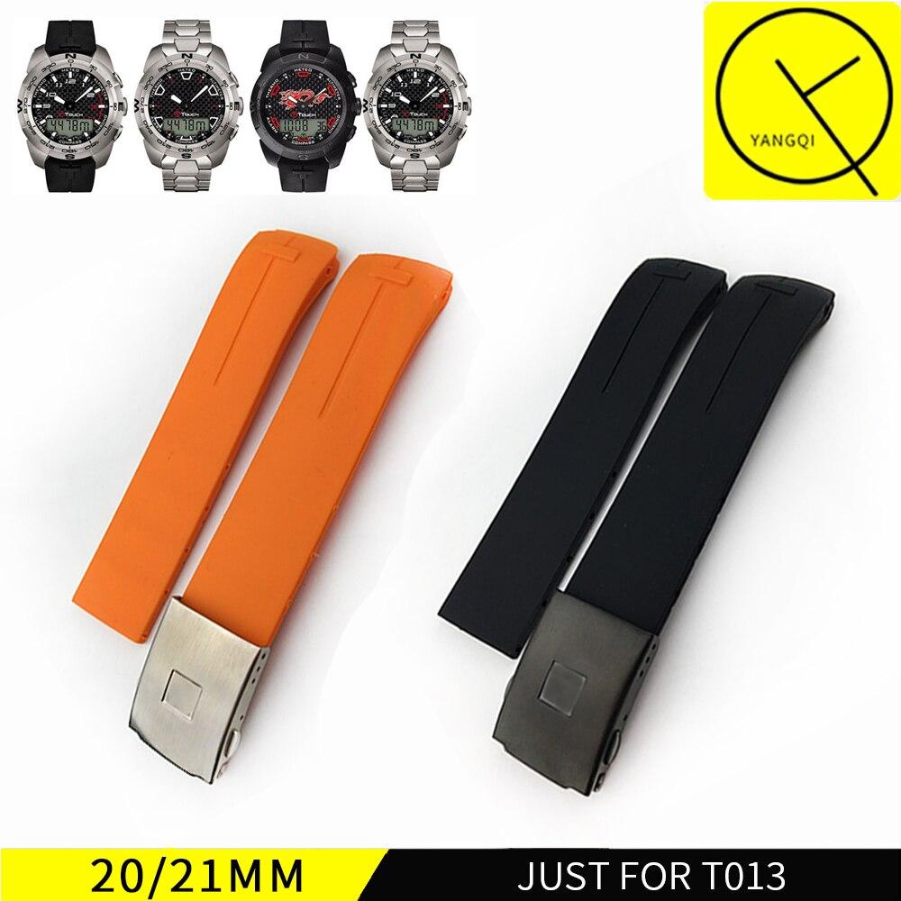 20mm 21mm Silicone Rubber WatchBand Strap Bracelet for Tissot TOUCH T013420 T047420 Sports Watch Waterproof Watchband Z253 Z252 jansin 22mm watchband for garmin fenix 5 easy fit silicone replacement band sports silicone wristband for forerunner 935 gps