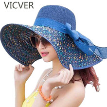Dot Wide Brim Floppy Hat Summer Sun Hats For Women Foldable Beach Cap Bowknot Ribbon Travel Outdoor Caps Casual Lady Elegant Hat solid color wide brim sun straw hats women bowknot beach cap summer ladies anti uv sunscreen floppy hat casual travel fold caps