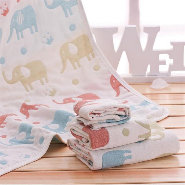 2016 nuevo cinco capas de gasa towel 100% historieta del algodón de alta bebé grado baño towel soft cómodo y fácil de absorber el agua