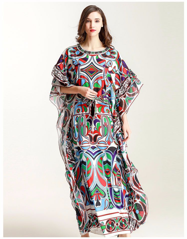 New Arrival 2018 Womens O Neck Sleeveless Ruffles Printed High Street Loose Design Fashion Long Dresses