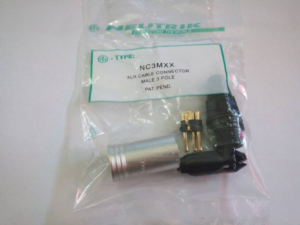 20Pcs lot 10PCS NC3MXX 10PCS NC3FXX NEUTRIK Male and female A set 3Pin XLR Connector withe