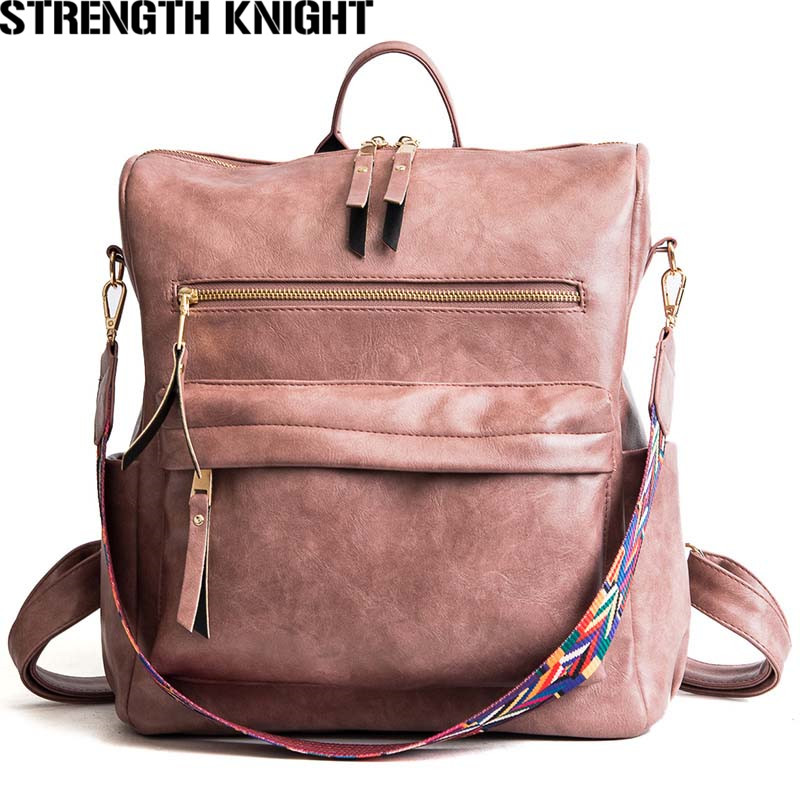 Leather Backpack Women Students Girls School Bag Large Backpacks Multifunction Travel Bags Mochila Pink Vintage Back Pack Leather Backpack Women Students Girls School Bag Large Backpacks Multifunction Travel Bags Mochila Pink Vintage Back Pack