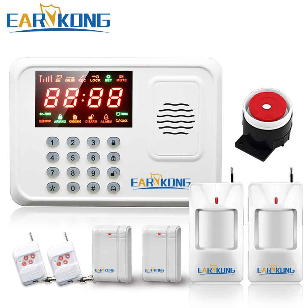 Wireless GSM Alarm System Fashion design 433MHz Support English Russian Spanish Wireless Alarm System Cheap Price Free Shipping free shipping dc12v 433mhz metal