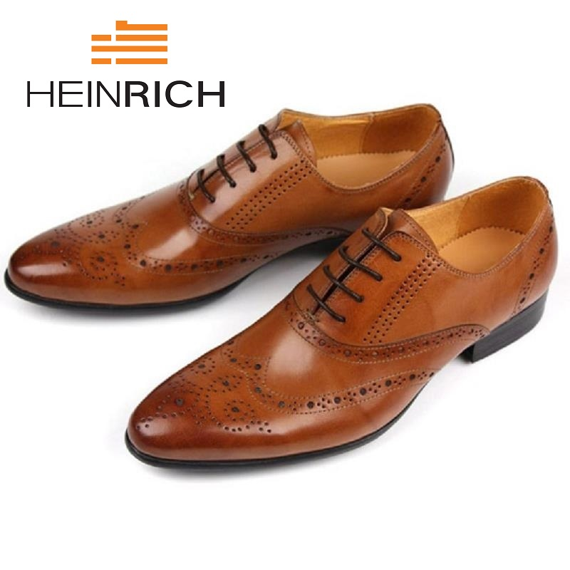 HEINRICH Young Bullock Mens Shoes Genuine Leather Formal Wedding Dress Shoe For Man Lace Up Prom Office Work Shoes Derbies