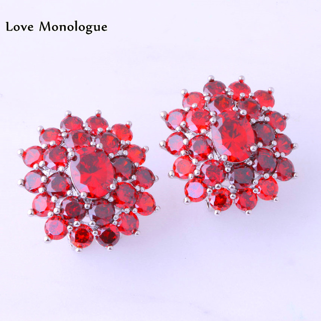 Love Monologue Aesthetic Red Create Garnet Earrings Silver Color Clip For Party Jewelry J0127
