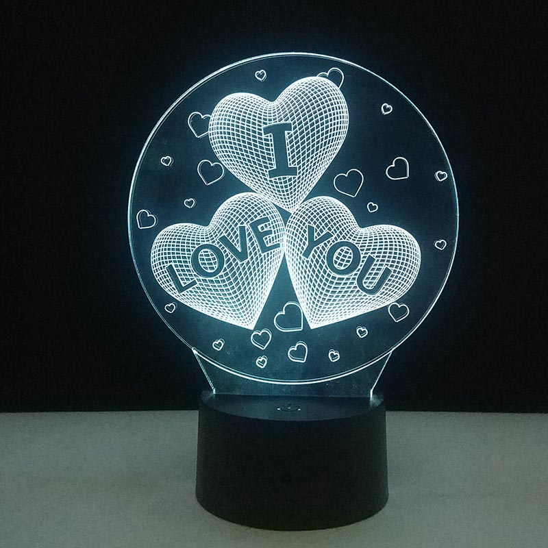 3D Love Heart Shape LED Lamp Night Light Home Wedding DIY Decoration 7 Colors Changing Touch Table Lamp Lovers Couple Gifts