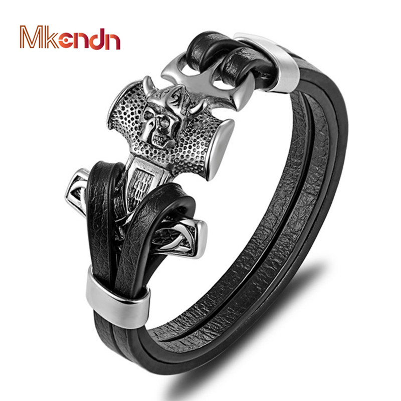 MKENDN Punk Men Jewelry Black Genuine Anchor Leather Bracelet Skull Stainless Steel Magnetic Clasp Fashion Bangles