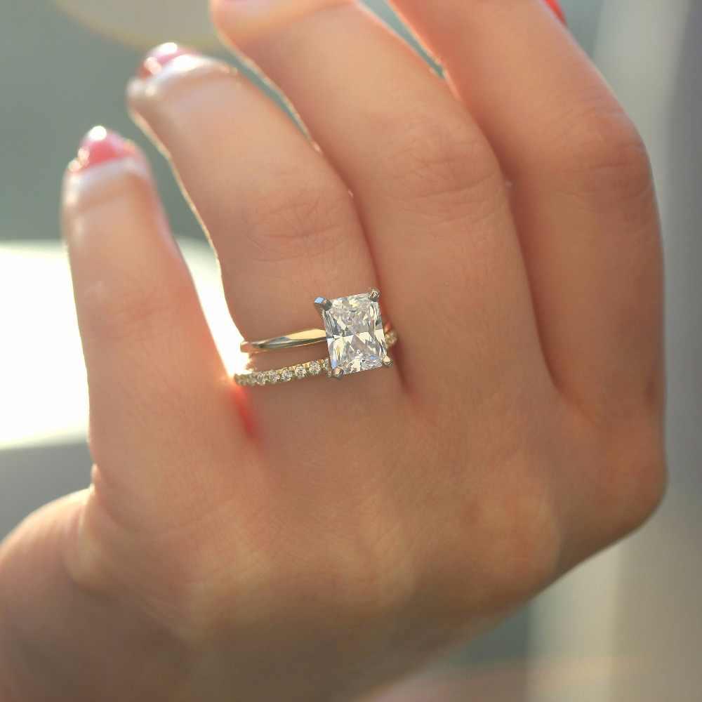 Cushion Gold Band 2.0 Ct Lab Diamond Engagement Ring Cushion Cut Solid 14K Yellow Gold Bridal Rings Cushion Band Band Cushion