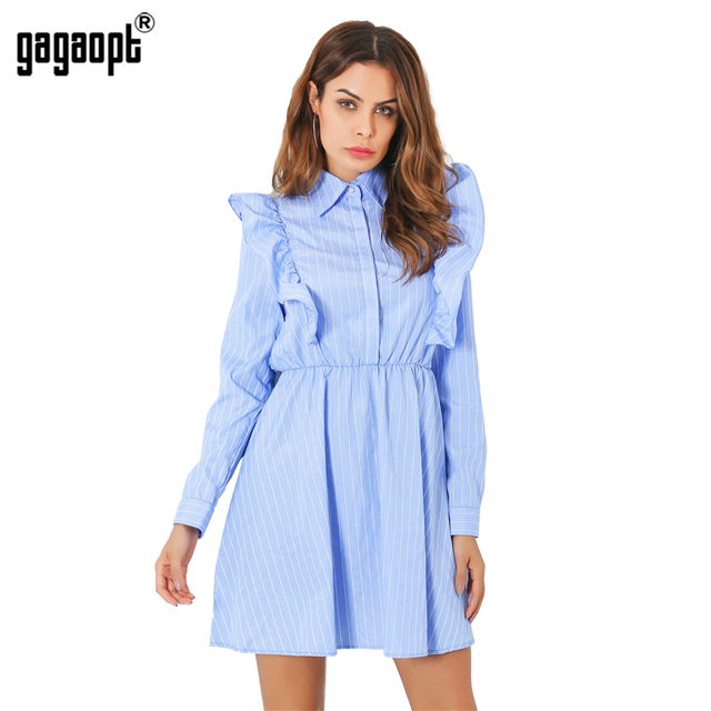 Gagaopt 2017 Summer Dresses Women Casual Vestidos Ruffles Sleeve Print Striped Elegant Vestidos Loose Dresses Robes D2361Z