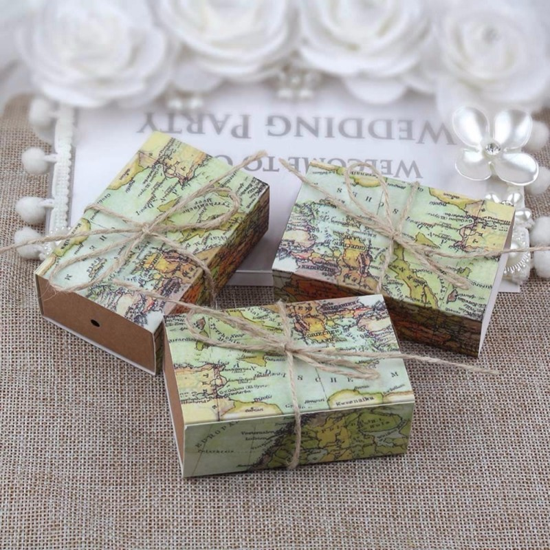 50 pcs set world map gift box kraft paper wedding candy vintage 50 pcs set world map gift box kraft paper wedding candy vintage organize for wedding gift boxes in storage boxes bins from home garden on gumiabroncs Image collections
