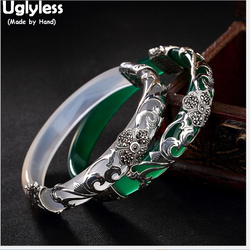 Uglyless 925 Silver Four Leaf Clover Bangles for Women Transparent Gemstone Bangle Ethnic Flower Jade Bracelet